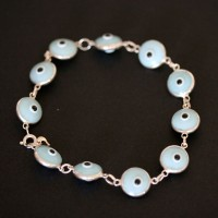Bracelet 925 Silver Blue Eye Greek 18cm / 1cm