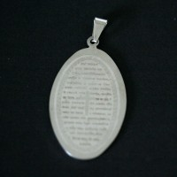 Steel Pendant with Lord's Prayer Text
