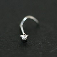 Nose piercing 18k White Gold Star with 01 Zirconia Stone