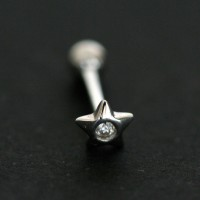 Ear Piercing Microbel 18k White Gold Star with Zirconia stones