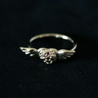 Ring Semi Veneer Jewelry Heart with Wings Phalanx