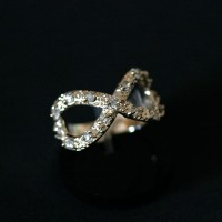 Ring Plated Jewelry Semi Infinite Shape Rhinestone encrusted in All 15 Stones