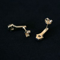 Semi Earring Jewelry Gold Plated with Zirconia Stone