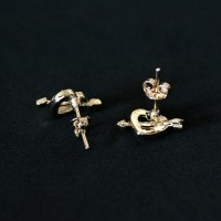 Semi Earring Jewelry Gold Plated Heart with Arrow