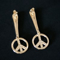Semi Earring Jewelry Gold Plated Peace Symbol