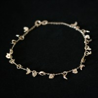 Semi anklet Jewelry Gold Plated Heart and Moon