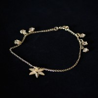 Semi anklet Jewelry Gold Plated Pendant with Star and Flower