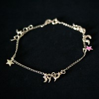 Semi anklet Jewelry Gold Plated Pendant with Star and Moon Resin