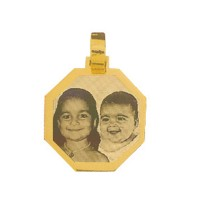 Gold Plated Pendant with engraved photo / 24.3mm x 24.3mm Photoengraving