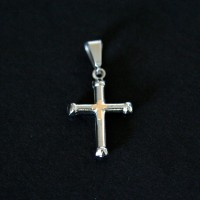 Small Steel Cross Pendant with Gold