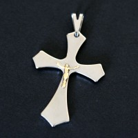 Steel Cross Pendant with Christ in Malta Type Gold
