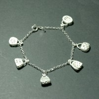 Bracelet  Silver 925  Portuguese with hanging bags