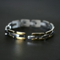 Worked Steel Bracelet with Gold Details