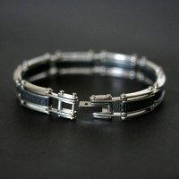 Worked Steel Bracelet with Leather Details