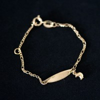 Semi Bracelet Jewelry Gold Plated Plaque 13cm x 2.0cm 0.5cm Pendant with Moon