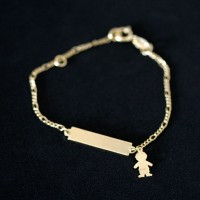 Semi Bracelet Jewelry Gold Plated 13cm Plaque 2.0cm x 0.5cm Pendant with Boy