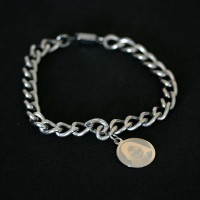 Steel Bracelet 0.7cm / 18cm with Steel Pendant with photo engraved / Photoengraving 15 mm