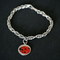 Steel Bracelet 0.7cm / 18cm with Steel Pendant with photo engraved / Photoengraving Color 15mm