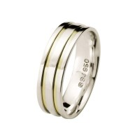 Comfort Straight Alliance Silver 6mm with 2 Fillets Gold