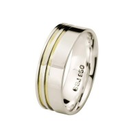 Comfort Straight Alliance Silver 7mm with 2 Fillets Sides in Gold