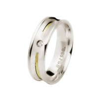 Alliance Concave 6 mm silver bead with zirconia stone and 2 mm