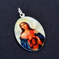 Steel Pendant with Recording Immaculate Conception