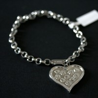 Portuguese Steel Bracelet with Heart Heart and Flower Details