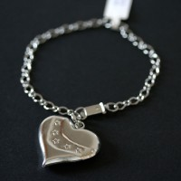 Steel Heart Bracelet with Star and Moon Details