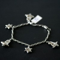 Twisted Steel Bracelet Bell and Star