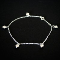 Anklet 925 Silver Hearts