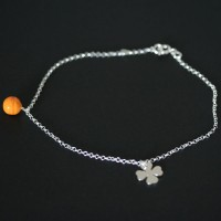 Anklet Silver 925 Clover Portuguese and Orange