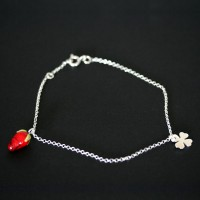 Portuguese Silver 925 anklet and Strawberry Clover